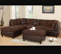 HUGE SECTIONAL SOFA FOR SALE CHOCOLATE BROWN OTTOMaN INC.