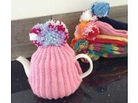 Hand knitted POM POM TEA COSY teacosy pink blue EASTER Mother's Day nan nanny gran gift knit 4