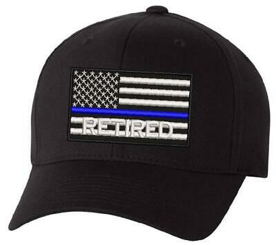 Blue Police Hat (Thin blue Line Retired USA Flag Embroidered Hat - Police Hat LEO Hat Free)