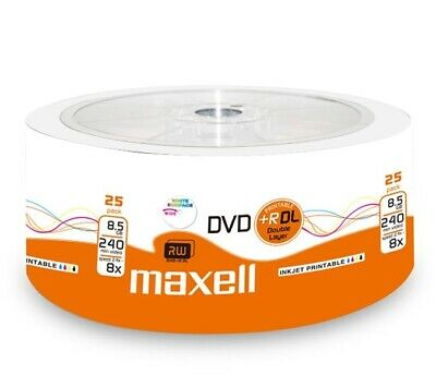 MAXELL DVD+R DL Rohlinge 8.5GB Double Layer bedruckbar 8x speed in 25er Shrink