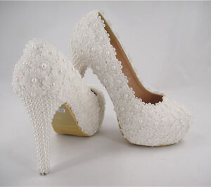 handmade ivory beaded lace bridal shoes pearl high heel