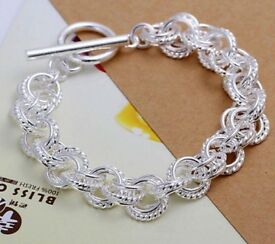 Silver plated circle bracelet