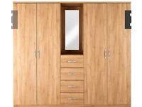Peru 4-Door, 4-Drawer Combi Wardrobe In Oak-Effect