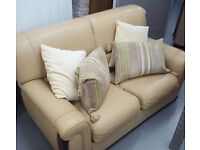 Pale yellow leather sofa and 2 chairs