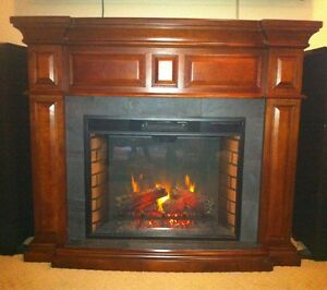 Dimplex electric fireplace, dark wood and grey slate