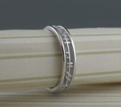 Love Forever Celtic Wedding Ring - Sterling Silver Celtic Ogham Wedding Ring LOVE FOREVER Irish made BORU Size 5