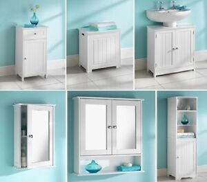 MAINE WHITE BATHROOM SINGLE DOUBLE DOOR TALL BOY NARROW UNDERSINK CABINET EBay