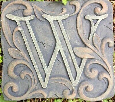 W Stone, plaque, stepping stone,  plastic mold, concrete mold, cement, plaster