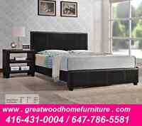 LEATHER QUEEN BED WITH MATTRESS..$299..LIMITED STOCK !!!