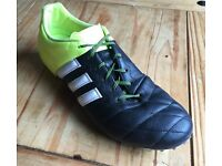 Adidas Ace 15.2 Black Leather Firm Ground Football Boots size 10.5
