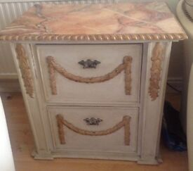 2 drawer filing cabinet cream and gold detail. £215