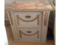 Shabby chic 2 drawer filing cabinet /side table
