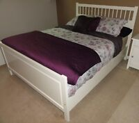 Ikea White Wood Hemnes Double Bed - free delivery