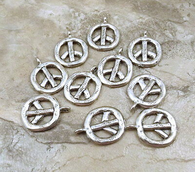 Set of 10 Pewter Peace Sign Charms - - Pewter Peace Sign Charms