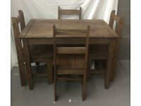 Brand new solid waxed pine 4 chairs Dinning Table Complete Set