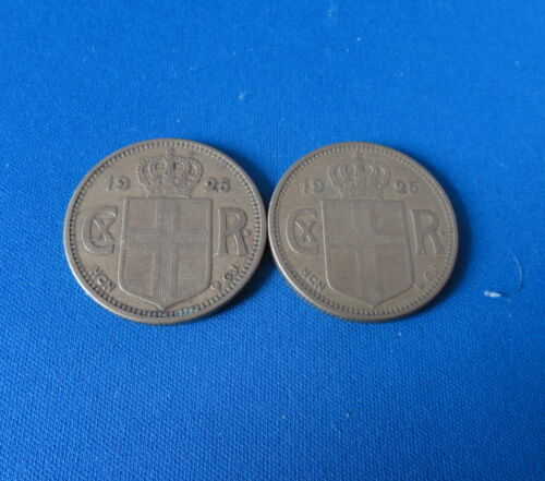 TWO - 1925 (2) Kronur Coins - Iceland - Good or better condition