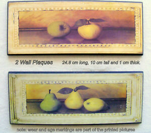 2 small wall plaques for-  $5, apples and pears, ready to hang