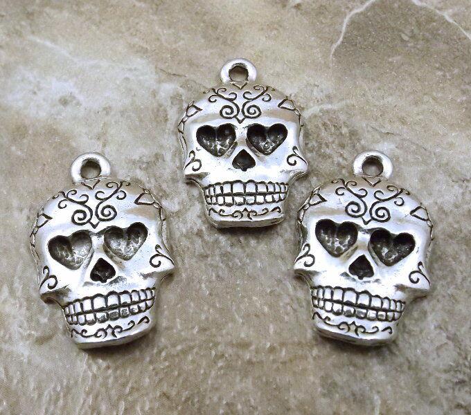 3 Pewter Sugar Skull Charms -  5178
