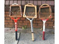 3 old tennis racquets with head clamps Dunlop