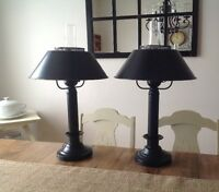 set of two metal lamps