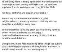 Allana's day home is looking to fill 2-3 spots by nov 1st 2016