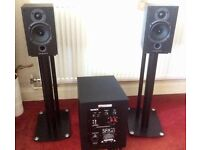 Speakers, stands and sub woofer