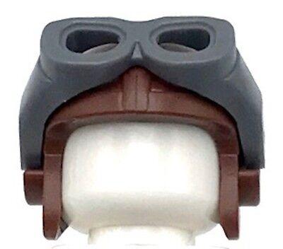 Lego New Reddish Brown Minifig Headgear Cap Aviator and Visor Goggles - Cap And Goggles