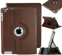 NEW BROWN 360 ROTATING PU LEATHER CASE COVER STAND FOR IPAD AIR