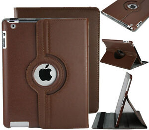BROWN 360 ROTATING PU LEATHER CASE COVER WITH STAND FOR IPAD AIR