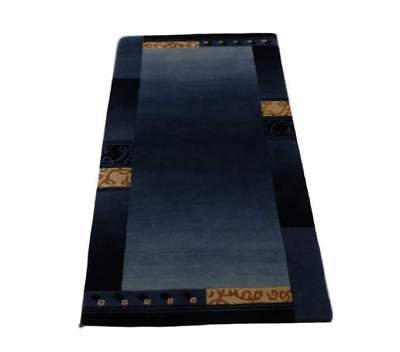 Teppich Original Nepal fein Handgeknüpft 70x140 cm 100 % Wolle blau