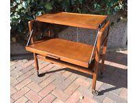 Vintage walnut tri-magic metamorphic tea trolley table