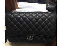 Chanel cavier bag jumbo black silver not Hermes Gucci Prada lv