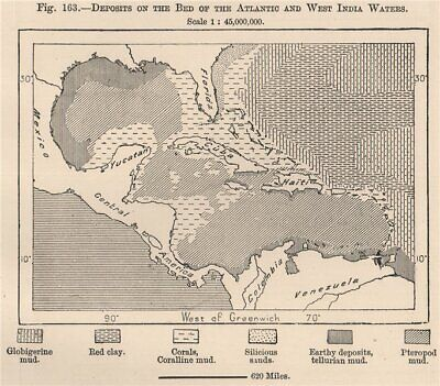 Deposits on the bed of the Atlantic & West India waters. Caribbean 1885 map