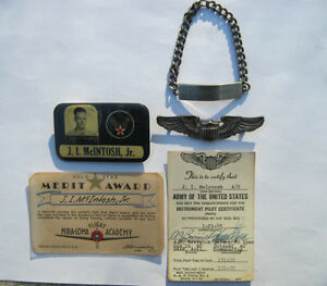 Antique WW2 American Pilot Badge Wings and Documents U.S. USA Strathcona County Edmonton Area image 1