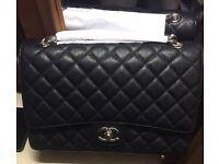 Chanel cavier bag jumbo black silver not Hermes Gucci Prada lv