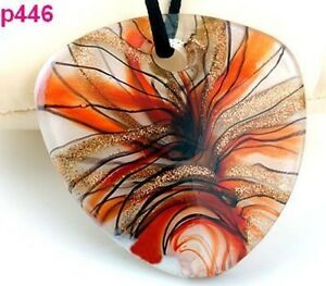 Linear Heart Murano Art Glass Pendant Necklace--BRAND NEW!