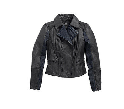 Harley-Davidson GENUINE Women's Black Leather & Denim LARGE Fashion Biker Jacket