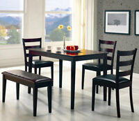 $ 349 - NEW - WITH CAPPUCCINO TABLE ---3 chairs + bench.