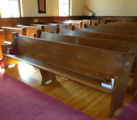 "MK005 Antique Vintage Solid Oak Church Pew 126"" or 10'-6"" Wide"