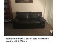 Real leather 2 seater sofa in black