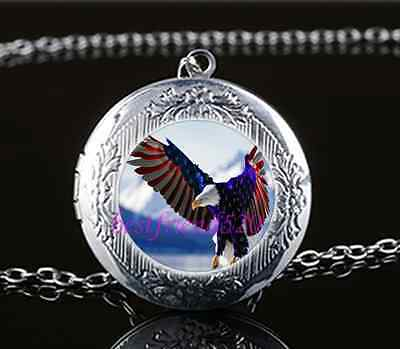 Us Flag Eagle Army Cabochon Glass Tibet Silver Chain Locket Pendant Necklace ()