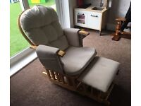 Baby weavers gliding cream nursing chair with foot stool