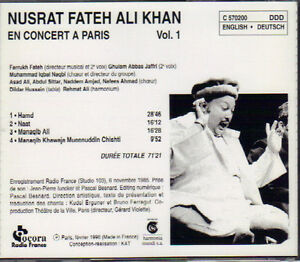 Nusrat Fateh Ali Khan - Paris Concert Vol. 1 West Island Greater Montréal image 2
