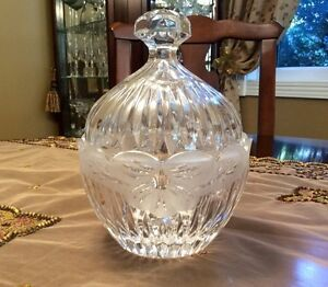 Vint lead crystal candy dish with lid-deeply cut pattern