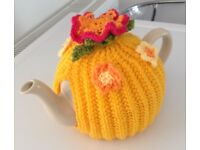 FLOWER TEA COSY hand knitted. Pot cover wool made. XMAS STOCKING GIFT yellow
