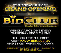 ONLINE AUCTION IN TORONTO WWW.BIDCLUB.CA   $80,000 IN IVENTORY