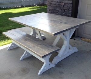 Rustic Dining Table & Bench Set