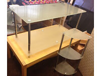 Glass Coffee Table and Glass Corner Table with Shelfs Good Condition Can Deliver