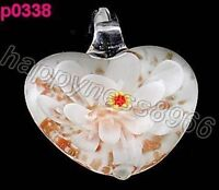 Murano Flower art lampwork glass pendant necklace--NEW!