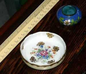 Birks small handpainted French mint dish or salt cellar